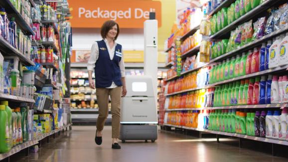 Bossa Nova robot navigates a store eisle