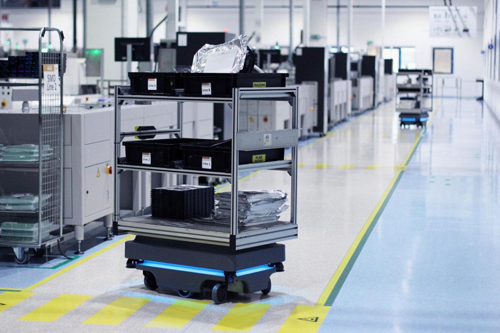 A MiR Robot with rack runs at Visteon facility