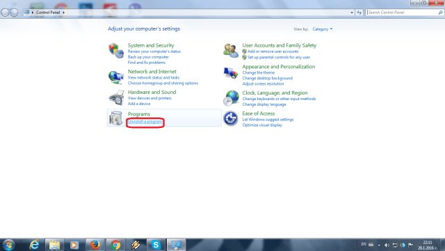 Uninstall in Control Panel
