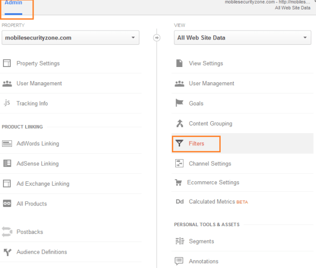 Admin Filters in Google Analytics
