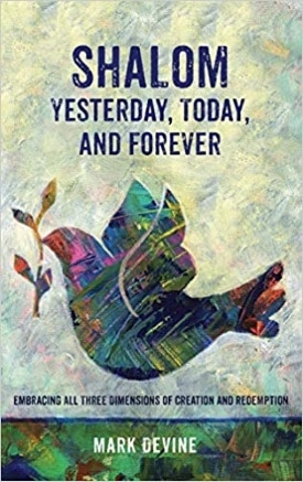 Light yellow, blue, green book cover depicts a dove flying with a small twig in it's beak and background words stating Shalom Yesterday, Today, and Forever.