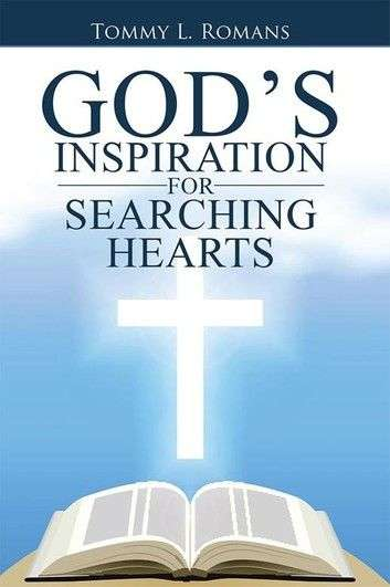 Picture wiith black letters stating God's Inspiration and a white Cross and Bible beautifully displayed on half blue and half white background.