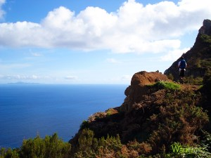 Levada do Caniçal. Photo of viewpoint with Porto Santo island far in the horizon.
