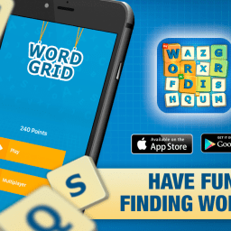 Word Grid promo image. 2 iPhones on the left with the game running, logo of the game on the right with links for download under it.