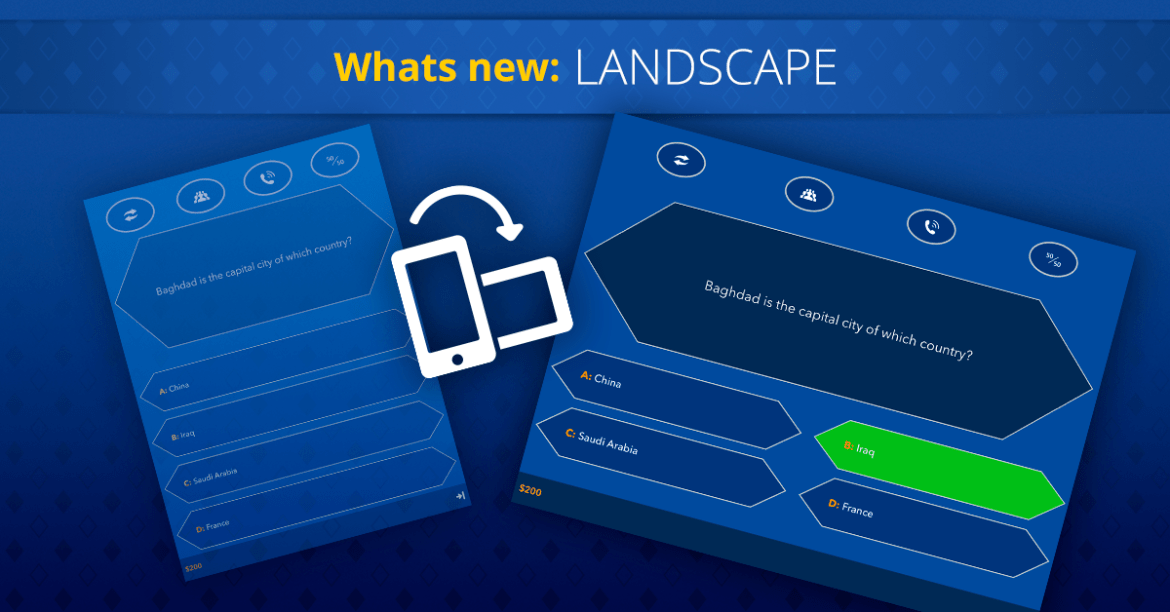 What's new on Super Quiz and Millionaire games - LANDSCAPE
