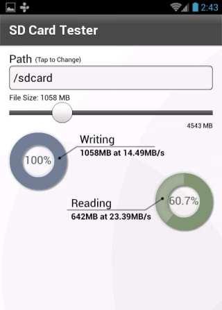 Przykład przeprowadzenia testu w programie SD Card Tester.