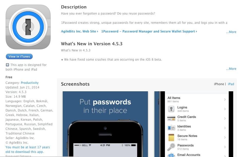 1Password dla iOS za darmo!