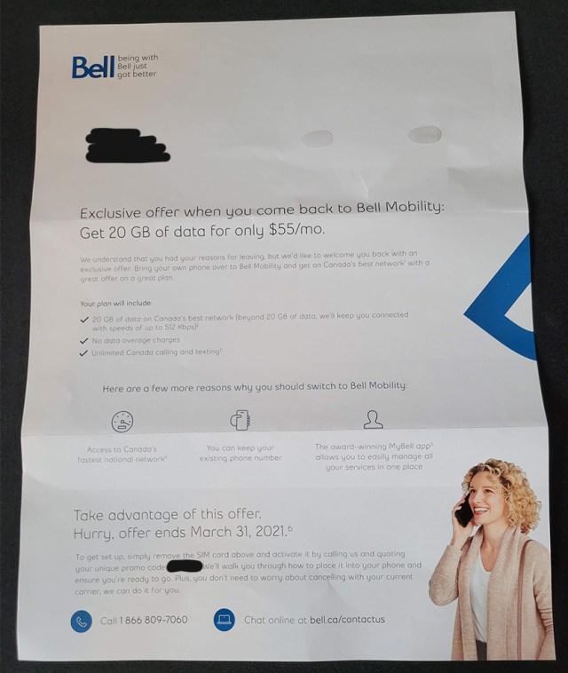 bell win back offer