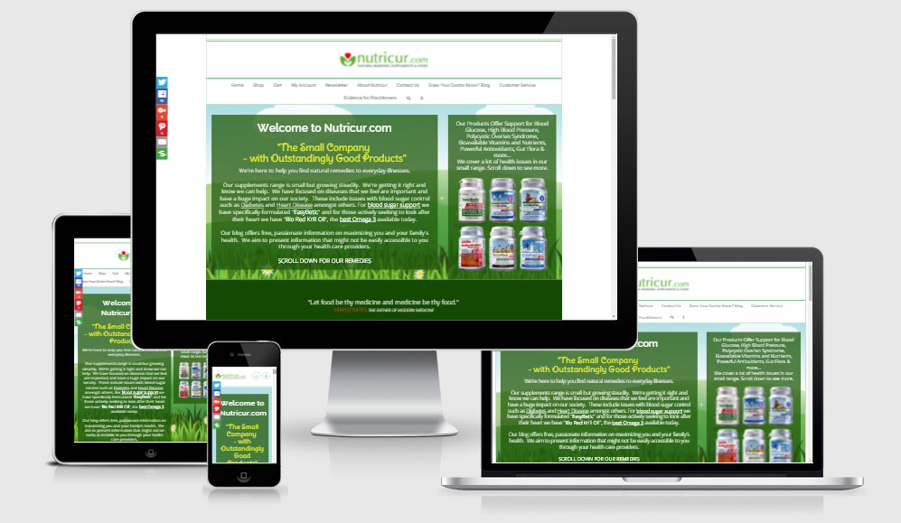 Nutricur Responsive Ecommerce Website Design