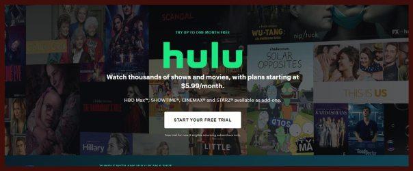 Hulu Webseite Screenshot