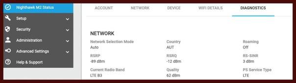 Nighthawk M2 Webinterface mit RSRP, RSRQ und SINR
