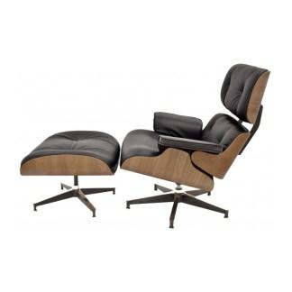 Lounge Chair+Ottoman | Nogal & Piel Negra