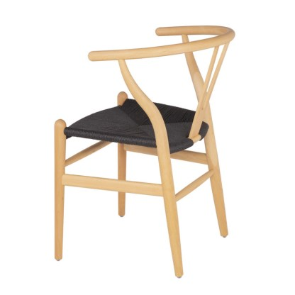 Silla Wishbone Natural asiento Negro