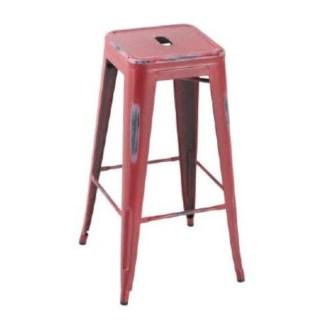 Taburete Tolix Style Antique Rojo Outdoor