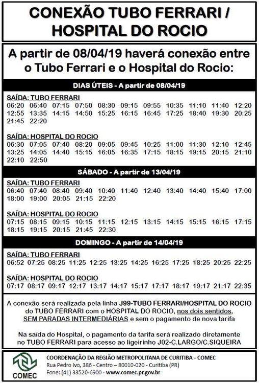 tabela hospital do rocio
