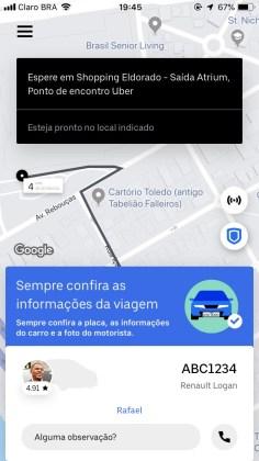 Tela do Uber