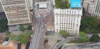 Manifestação de servidores no Viaduto do Chá