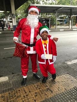 Papai Noel nos ônibus