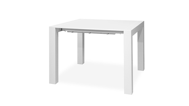table salle a manger carree extensible 96x96cm blanc brillant kendra