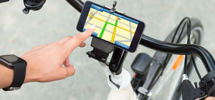 Smart phone navigation on bicycle