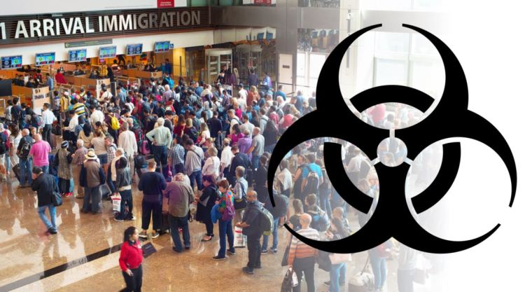 Infection and spread of disease risk through air travel