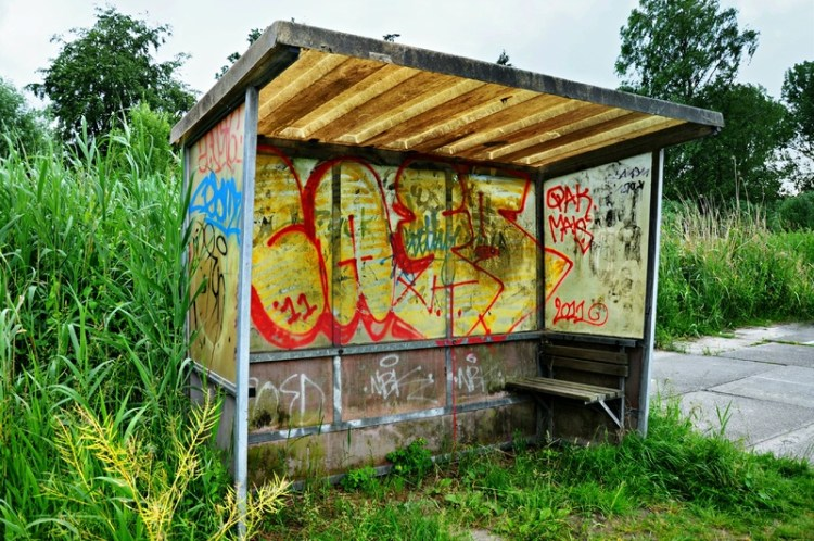 Shabby rural bus stop