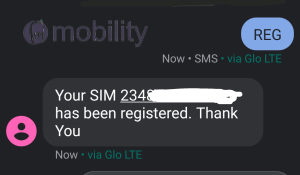check SIM card registration on globacom