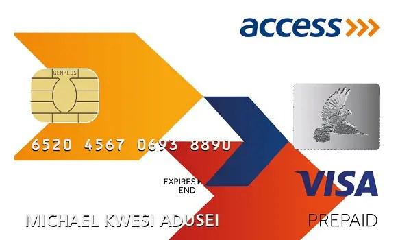 access bank prepaid VISA Card