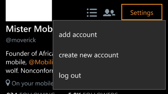 How to logout of Twitter for Windows 10 Mobile 21
