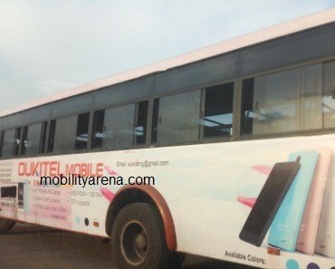 oukitel mobile nigeria branded bus