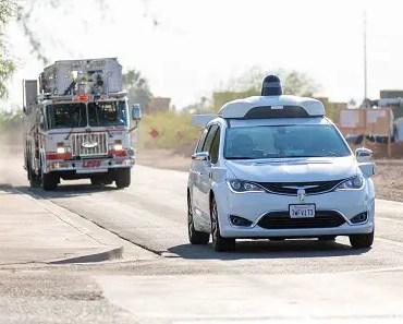 Waymo car and emergency vehicle