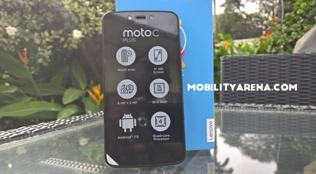 Moto C Plus phone with box