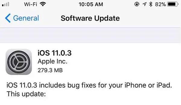 iOS 11.0.3 update