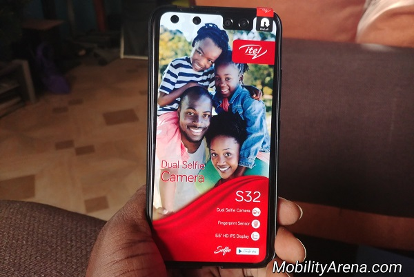 itel S32 unboxing photos front label