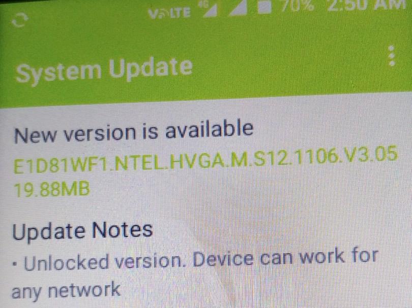 Ntel n1 Nova unlocked version update changelog