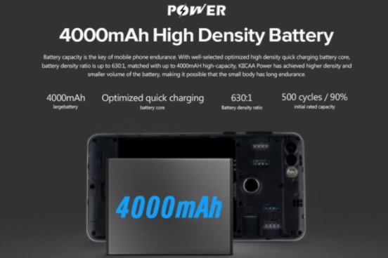 leagoo KIICAA Power battery details