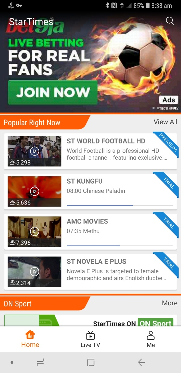 startimes on home