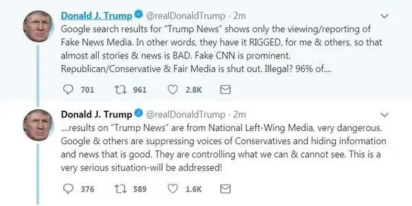 Donald trump accuses social networking platforms