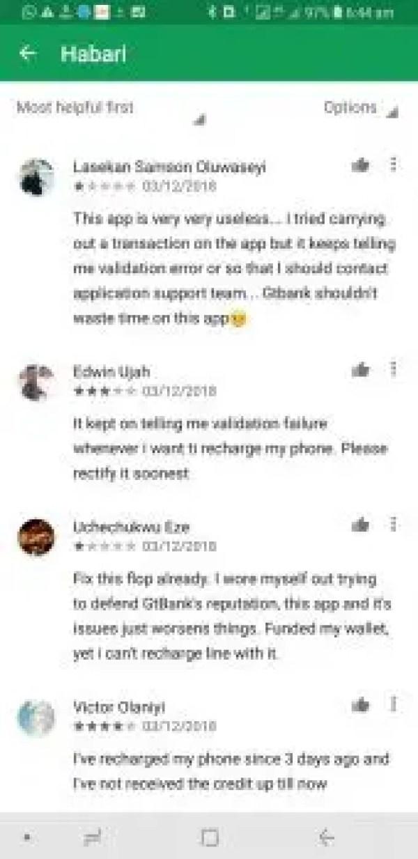 Habari app Google Play Store reviews