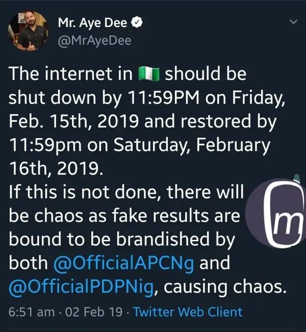 2019 nigerian presidential elections internet shutdown