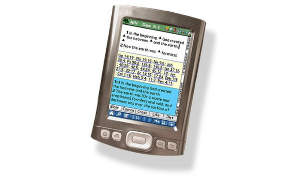 OliveTree Bible Reader app on a 2008 handheld PDA