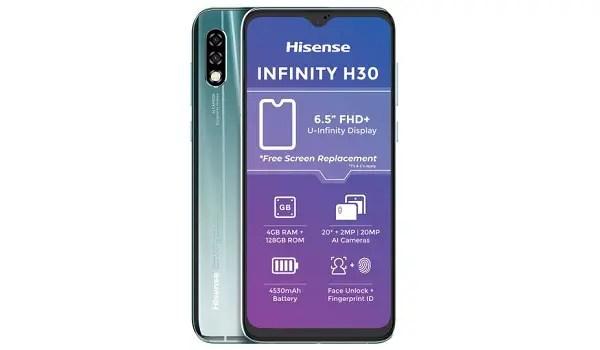 Hisense Infinity H30 selfie and main cameras
