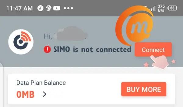 Simo app homepage