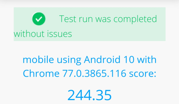 Microsoft edge browser for Android basemark benchmark results