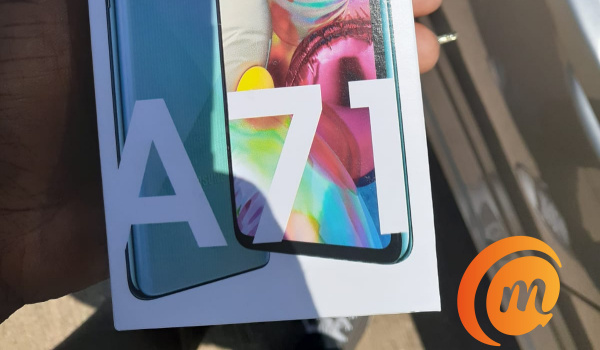 Samsung Galaxy A71 box in hand
