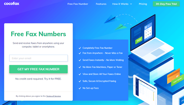 cocofax free fax numbers