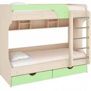Кровать двухъярусная Юнга (Дуб молочный/фисташка)