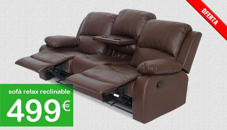 sof relax barato reclinable y extensible con bandeja posavasos oculta de mobiprix muebles