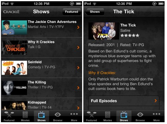 Crackle brings free movies, TV shows to the iPhone, iPod