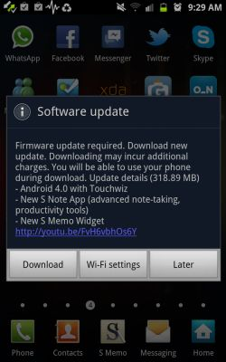 Samsung Galaxy Note Android 4.0 software update